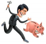 animowany obrazek przedstawiakący skarbonkę i walczącego o pieniądze pana